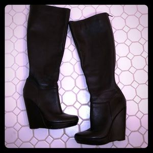 Black leather wedge knee boots size 7